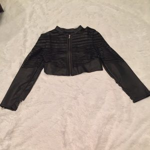 Crop top illusion jacket